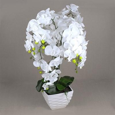 ЦК80*9/33-1 Орхидея Фаленопсис (белая)h80см(латекс) в интерьерном кашпо d17см - фото 25793