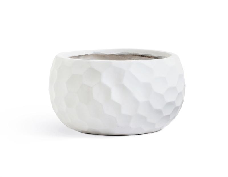 Кашпо Treez Ergo Comb Низкая полусфера белый камень - фото 31790