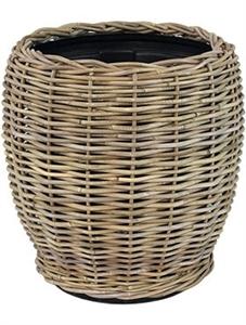 Кашпо Drypot rattan round grey высокий (Nieuwkoop Europe)