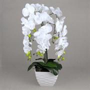 Орхидея Фаленопсис латекс в интер. кашпо белая 5 цветов (искусственная) Альсид