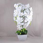 Орхидея латекс в интер. кашпо белая 7 цветов (искусственная) Альсид