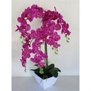 Орхидея Фаленопсис в интер. кашпо малиновая 5 цветов (искусственная) Альсид