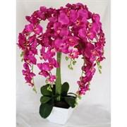 Орхидея Фаленопсис в интер. кашпо малиновая 9 цветов (искусственная) Альсид