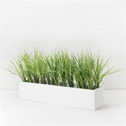 Трава зелёная латекс в деревянном белом ящике (искусственная) Альсид