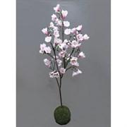 Кокедама Магнолия с цветами розовая (искусственная) Альсид