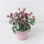 Клевер розовый в декоративном кашпо (искусственный) Альсид