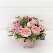 Розы в декоративном кашпо Геометрия (искусственный) Альсид