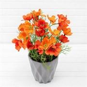 Космея оранжевая в декоративном кашпо (искусственная) Альсид