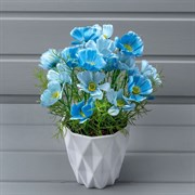 Космея синяя в декоративном кашпо (искусственная) Альсид