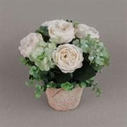 Роза с гортензией в кашпо зелёная (искусственная) Альсид