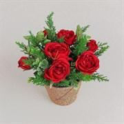 Роза пионовидная в кашпо красная (искусственная) Альсид