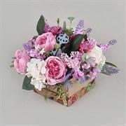 Роза в крафт коробке роз-синяя (искусственная) Альсид