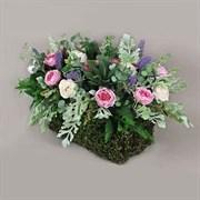 Роза пионовидная в декоративном боксе розово-кремовая (искусственная) Альсид