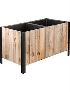 Кашпо Marrone box dark flame wood with metal feet (Nieuwkoop Europe)