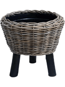 Кашпо Drypot rattan round with black feet (Nieuwkoop Europe)
