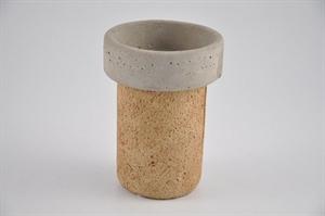 Ваза керамическая D16 H22 см коричневая/серая