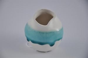 Ваза керамическая L8 W8 H9 см белая/бирюзовая
