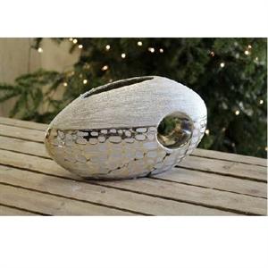 Ваза керамическая L30 W10 H10.5 см серая/серебряная