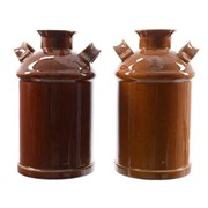 Ваза керамическая Бидон D15 H26 см коричневая/светло-коричневая