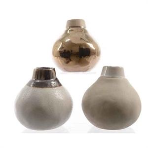 Ваза керамическая Бутылка D12 H12 см белая/бежевая/бронзовая ассорти