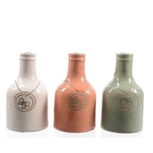 Ваза керамическая Бутылка D8 H14 см белая/персиковая/зеленая ассорти