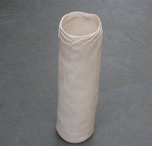 Ваза керамическая круглая D9 H30 см белая
