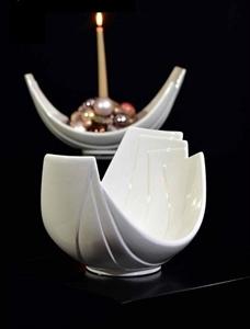 Ваза керамическая Лавано L25 W17 H17 см кремовая