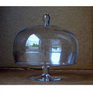 Ваза стеклянная Блюдо D30 H30 см на подставке с крышкой