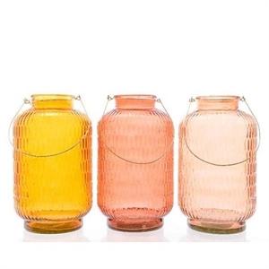 Ваза стеклянная D22 H38 см подвесная желтая/розовая/коралловая ассорти