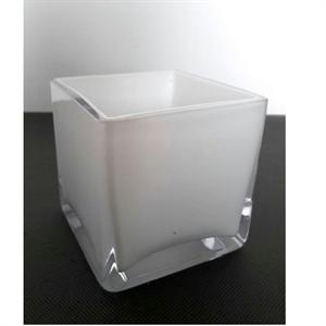 Ваза стеклянная Куб L10 W10 H10 см белая