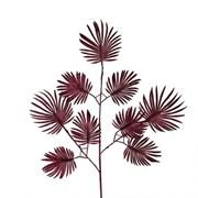 """7143/0030-15/11(Promo) Ветка """"Веерной пальмы"""" искусственная, мелкая, бордовая, h 70 см (40+30)"""
