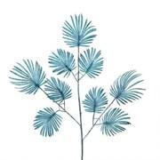 7143/0030-15/21(Promo) Ветка Веерной пальмы искусственная, синяя,мелкая h 70 см (40+30)