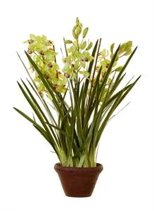 Орхидея Цимбидиум куст большой св.зелен в кашпо (искусственная)